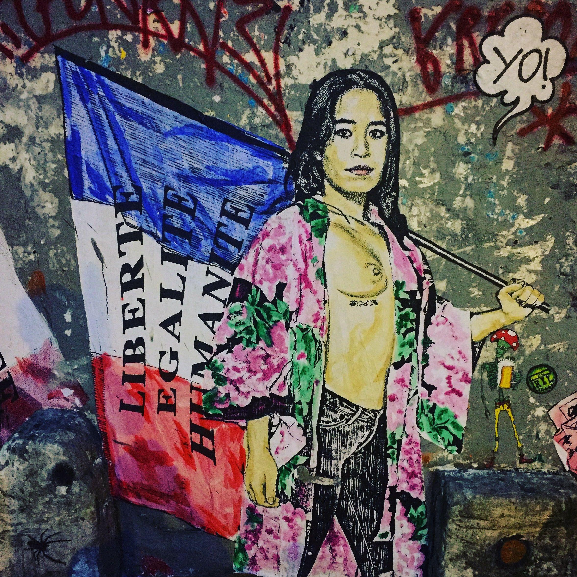 """""""Liberté, Égalité, Humanité"""" by @combo_ck #combock #culturekidnapper #streetart #graffiti #graff #spray #bombing #wall #sprayart #instagraff #urbanart #wallporn #pochoir #collage Rue Amelot #paris"""