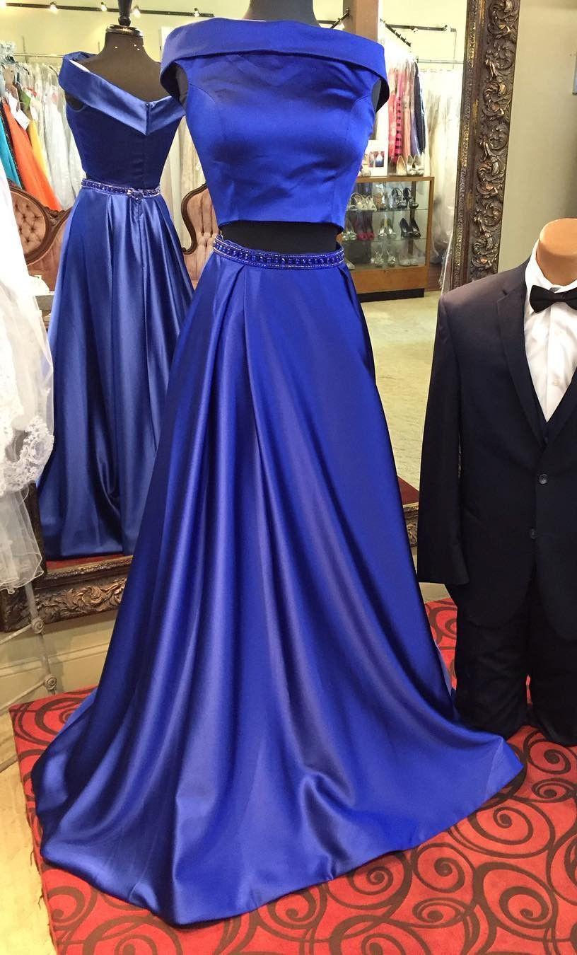 long prom dresses, two piece prom dresses, royal blue prom dresses ...