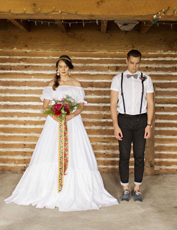Baumwolle Boho Hochzeitskleid aus Schulter, reine Baumwolle, KATRINA ...