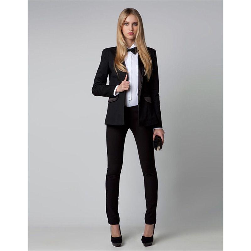 Ladies Pant Suits Fashion 2 Piece Set Brazers Elegant Womens Business Suits  Office Uniform Slim Fit Female Trouser Suit 9ca370a87e
