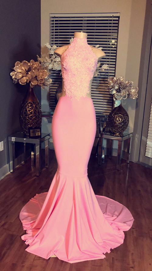 High Neck Long Evening Dress Cheap Lace Sleeveless Pink Mermaid Prom ...
