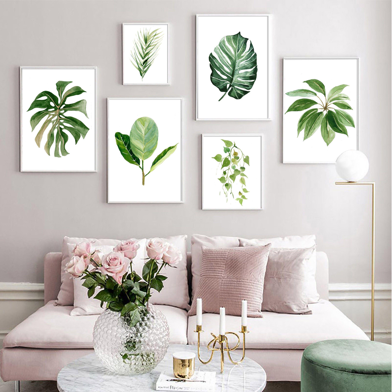 Tropical Greenery Art Set Printable Digital Download Etsy Leaf Wall Art Botanical Wall Art Kids Room Wall Art