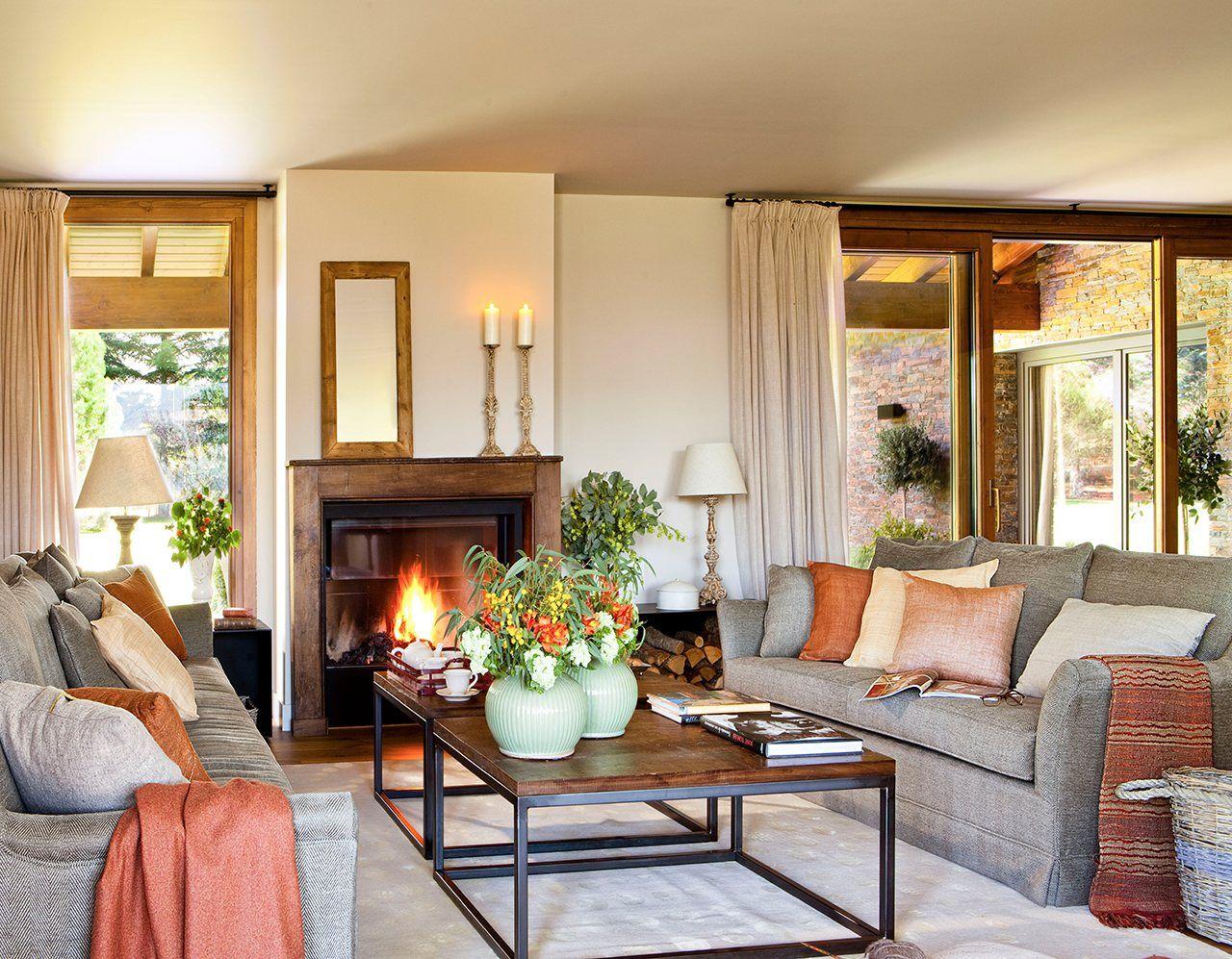 Una casa en el campo para disfrutar sin prisas sala con - Chimeneas para decorar ...