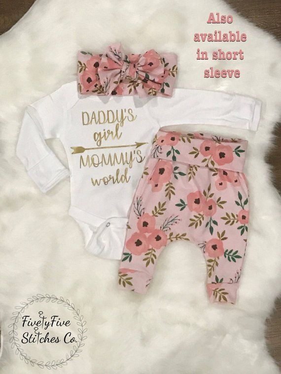 5448297414557 Baby Girl Coming Home Outfit*Daddy's Girl**Mommy's World**Baby Girl Going  Home Outfit**Hospital Outf