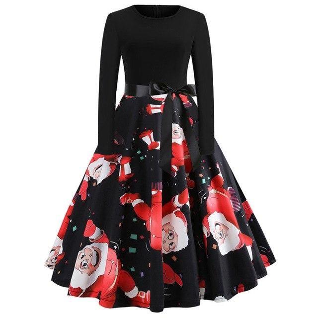 d72e6f42d9 Large Size Print Black Winter Christmas Dress Women Vintage Elegant Party  Dress Robe Swing Pinup Long