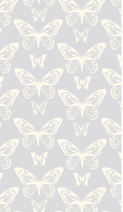 Removable Wallpaper, Peel and stick wallpaper, butterfly wallpaper, grey wallpaper, nursery wallpaper, nursery decor, Self adhesive