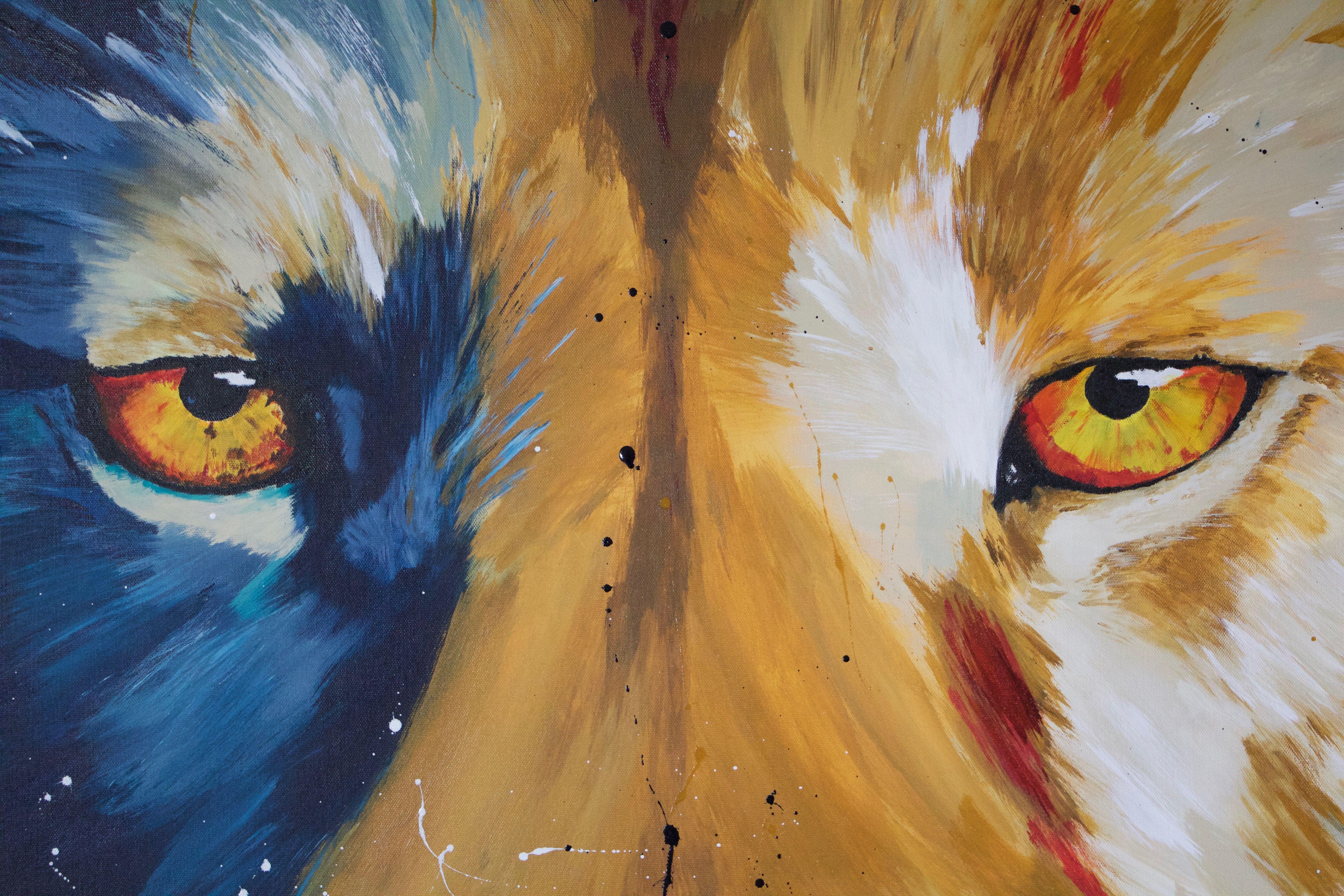 Löwe / Lion Acrylic Painting by Daniel Schausberger 150x100 cm