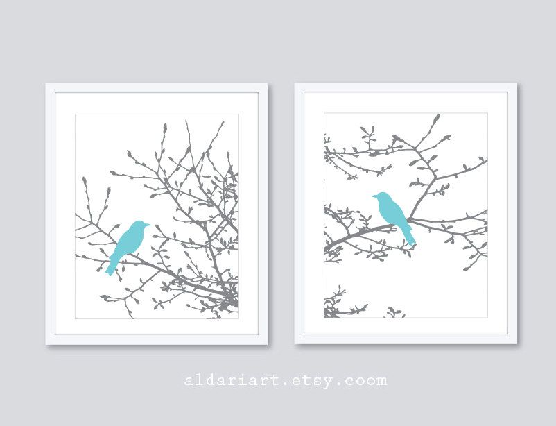 Birds On Branches Art Prints Modern Set Of 2 Magnolia Tree Blue And Gray Decor Aldari