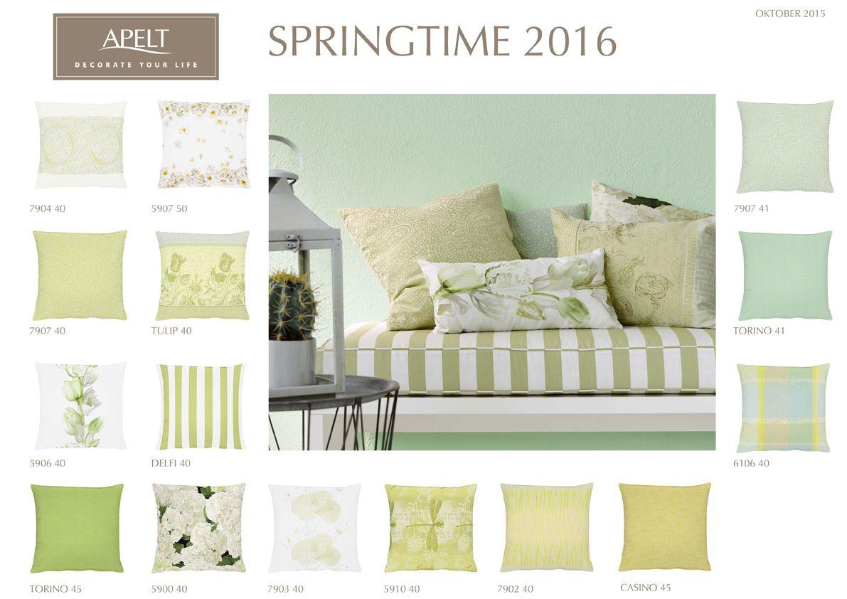 GRÜN - ein Spektrum zwischen Lime und Mint - Für das Frühjahr 2016 haben wir eine Vielfalt an Kissen und Tischwäsche mit zarten Frühjahrsblumen entworfen.  #pillow #tablelinen #apelt