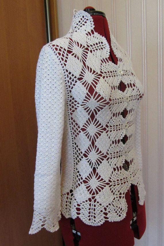 Photo of Crochet white cotton lace jacket, crochet small cardigan