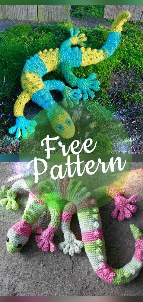 Free crochet gecko pattern #amigurumi #crochetdinosaurpatterns