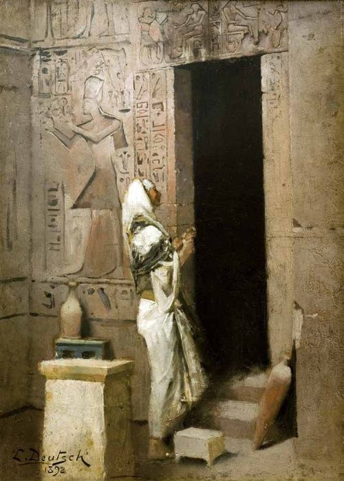 DEUTSCH Ludwig Austrian (Vienna 1855 - 1935 Paris 1935) ~  Egyptian Priest Entering a Temple, 1892