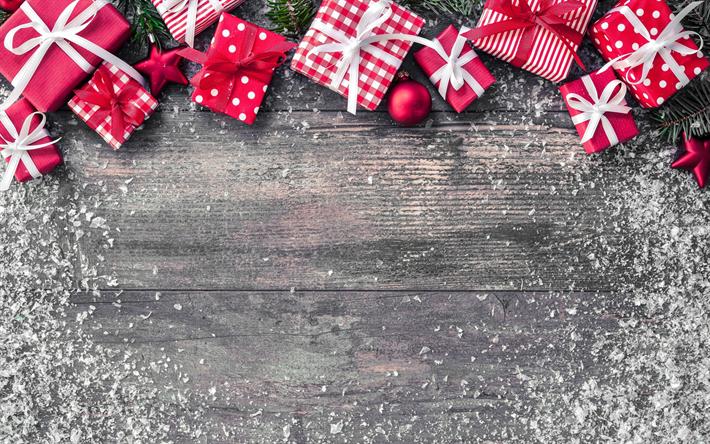 Lataa kuva Uusi Vuosi, 2018, punainen lahjapakkaus, Joulu, puinen taustat, Joulukuusi, lumi