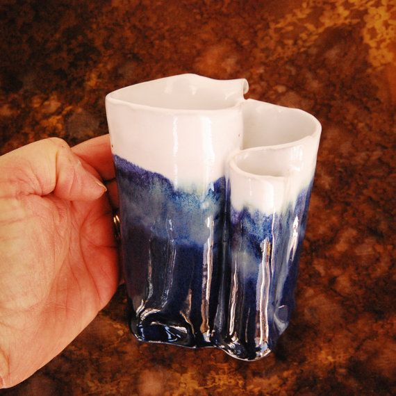 Toothbrush Holder Navy Blue Pottery By Thebutlerscreations On Etsy 36 00