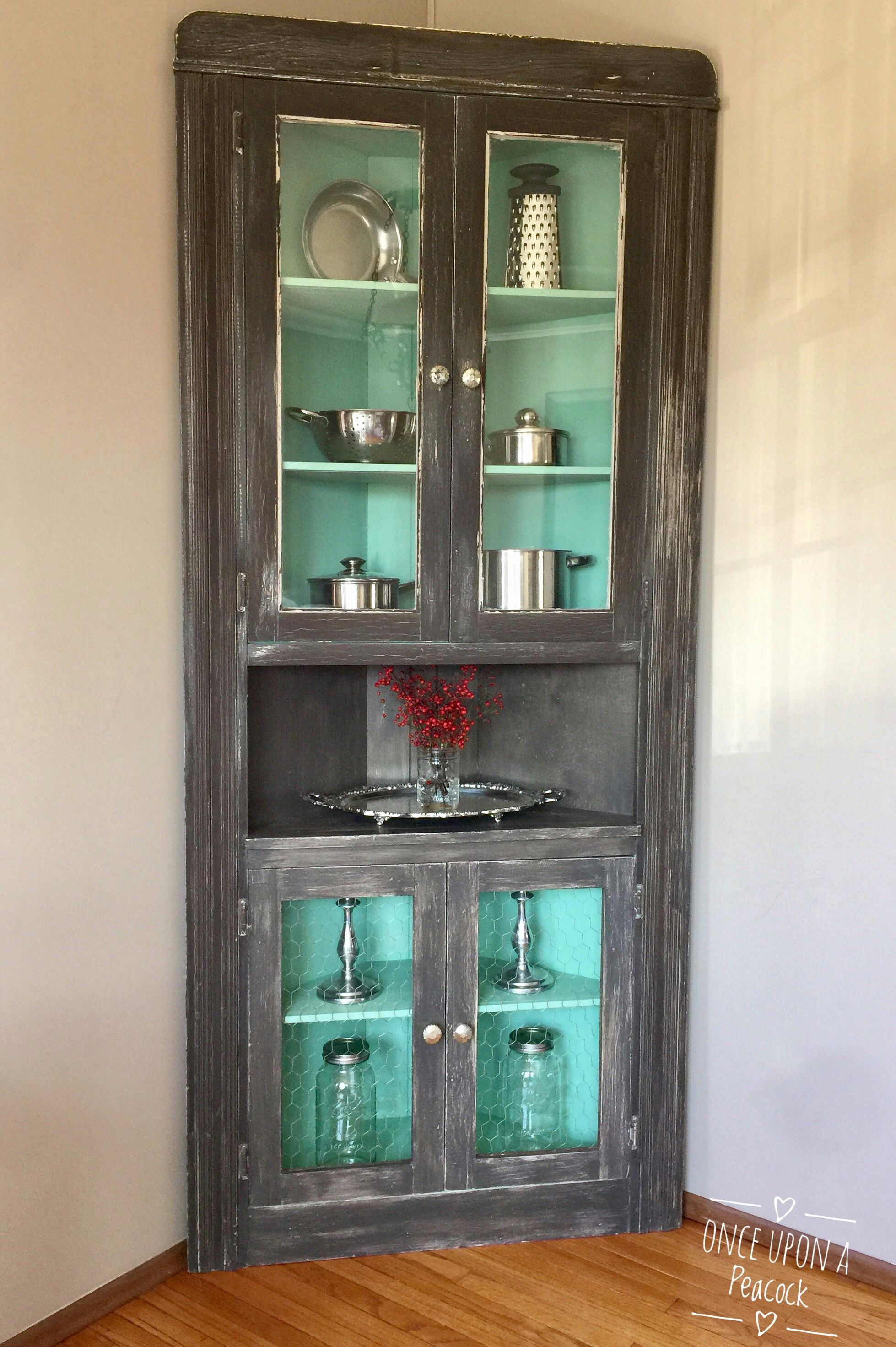 Mint To Be Perfectly Distressed Antique Corner Cabinet Painted