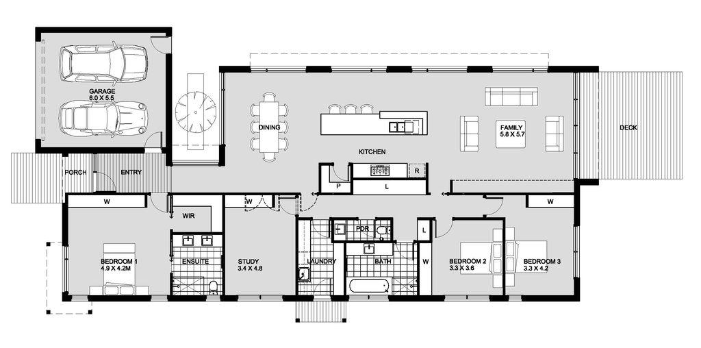 planos de casas 1 piso 5 dormitorios