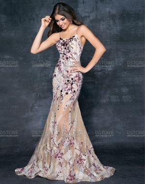 717cf96e0 Vestido de Festa Longo em Tule com Renda Bona 9569 - D Store USA - $3268,20