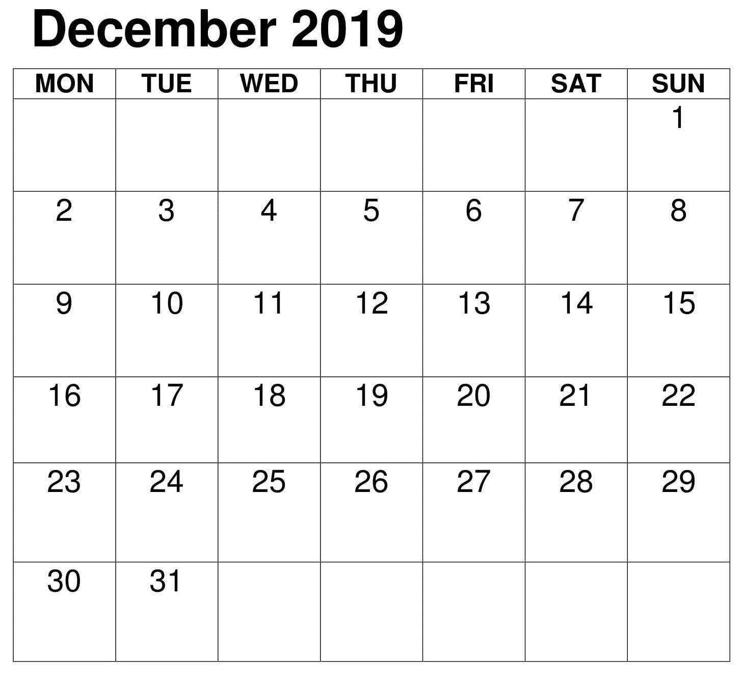 Pdf Calendar Template December 2019 Printable Monthly Calendar