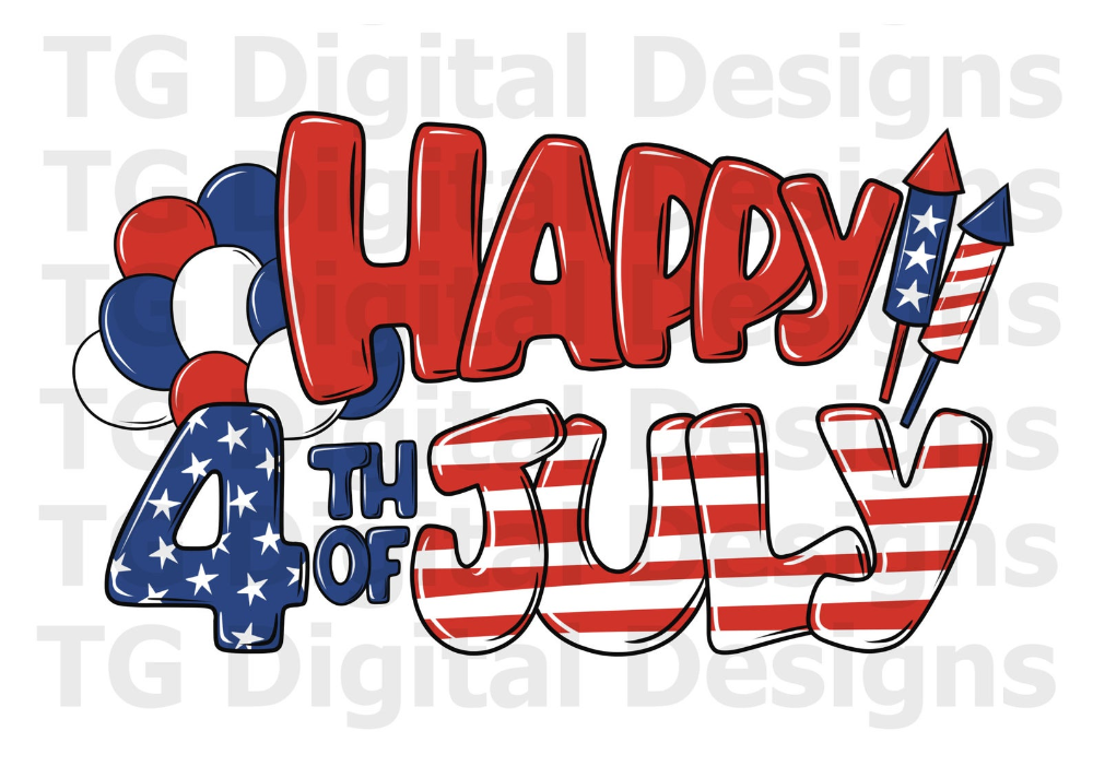 Happy 4th Of July Png File Sublimation Shirt Design Print Gift Ideas Invitation Card Digital Download Shirt Print Design Happy 4 Of July Print Gifts