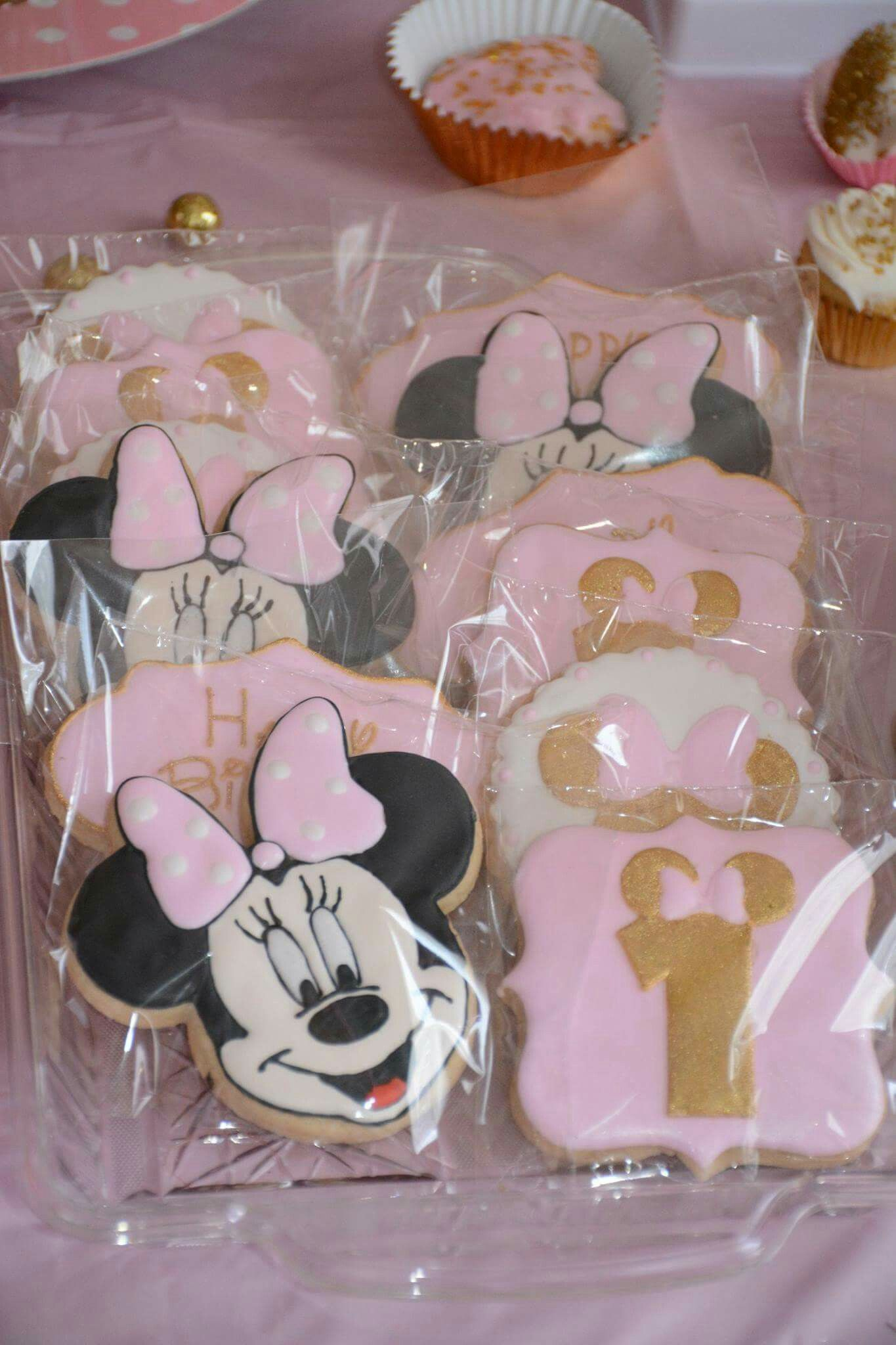 Pink And Gold Minnie Mouse 1st Birthday Cookies 1st