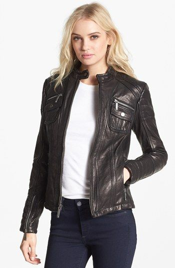 most reliable differently new selection MICHAEL Michael Kors Quilt Trim Leather Scuba Jacket ...