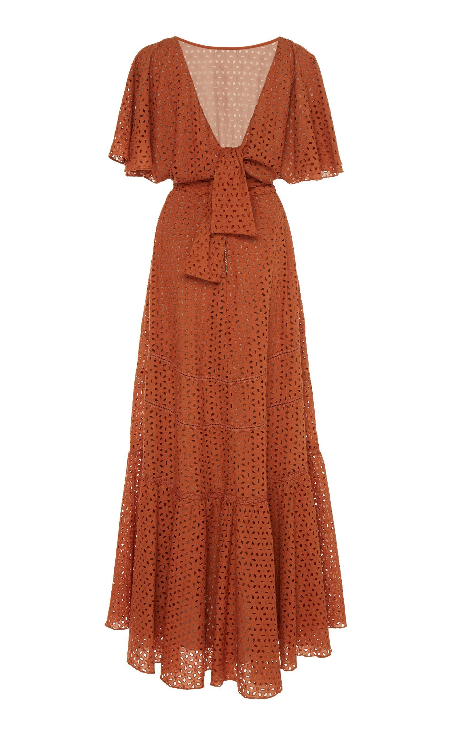 you should be dancing eyelet-detailed cotton maxi dress