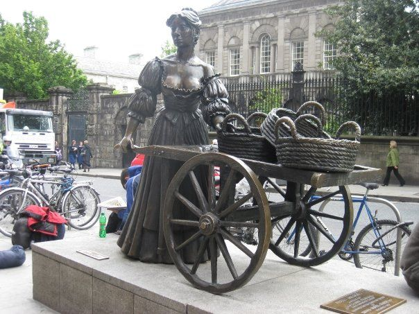 Molly Malone, Dublin, Ireland  As she wheels her wheelbarrow, through streets broad and narrow, crying cockles! and mussels! alive, alive, oh!