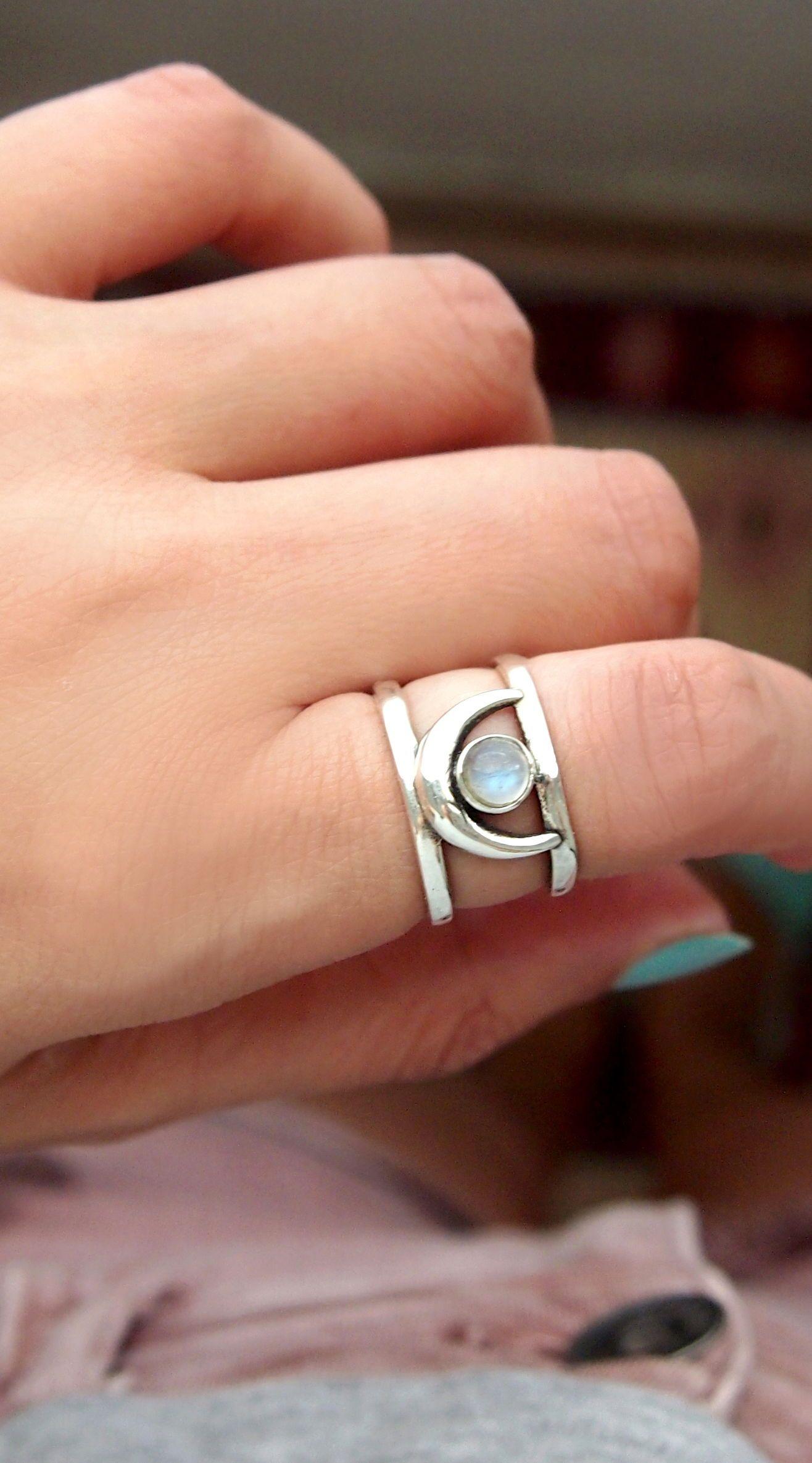 Moonstone Ring Moonstone Jewelry Blue Moonstone Ring Stone Ring Gemstone Ring Gemstone Jewelry Adjusable Ring Black Ring Rainbow Moonstone