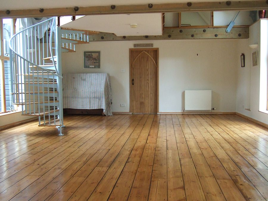 Medium Oak Stain Applied To Victorian Pine Floor