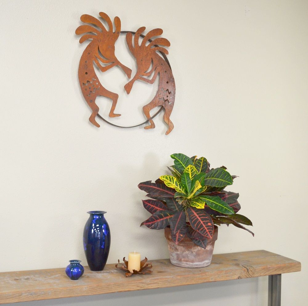 "Kokopelli love! Rustic wall decor, metal wall art, wall decorations. Oregardenworks ""Dueling Kokopellis"" Metal Wall Sculpture, $89.47"