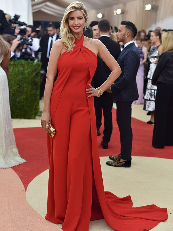 a4f84867008 Ivanka Trump Turns Met Gala Red Hot in Flowing Red Jumpsuit Just Weeks  After Giving Birth