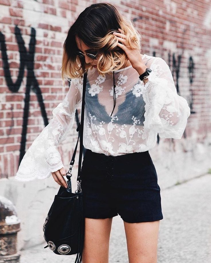 lace top bralette styling bralette black shorts street