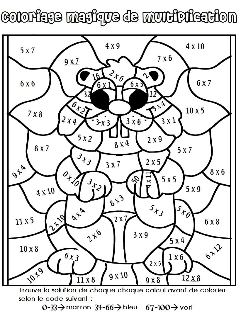 3rd grade multiplication coloring worksheets - Coloriage Magique De Multiplication