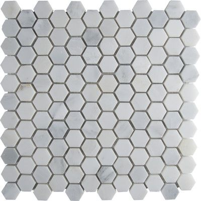 "MS International Arabescato Carrara 12"" x 12"" Hexagon & Dot Tile in Mosaic"