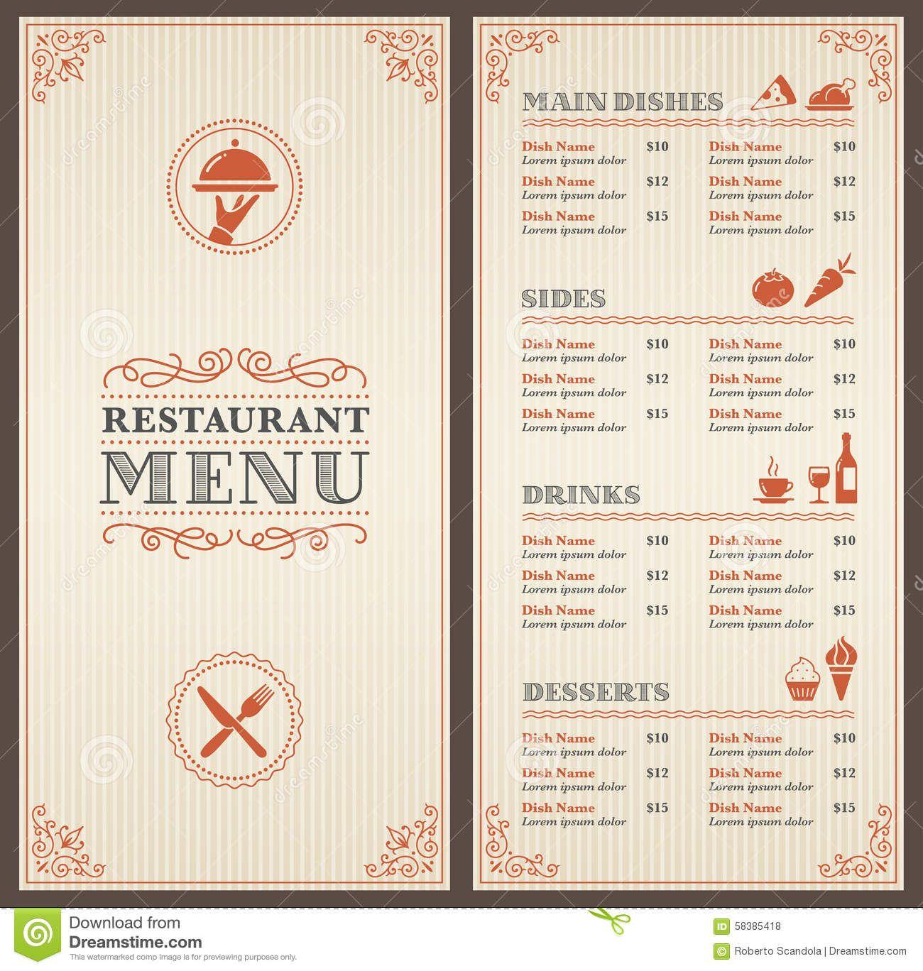 Classic Restaurant Menu Template Stock Vector - Image: 58385418 ...