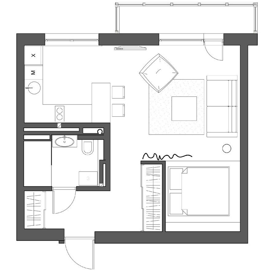 An Interior For A Young Couple 13 Small Apartment Plans Studio Apartment Floor Plans Studio Floor Plans