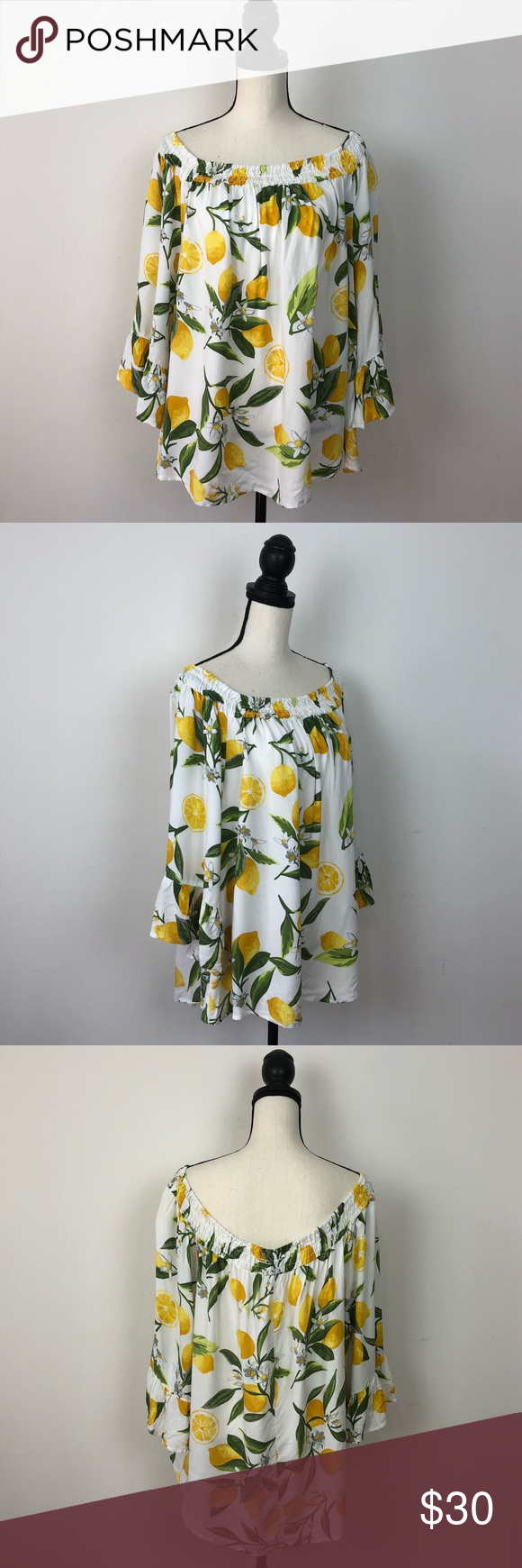 bf11bcbae23c5b NWT Unique Spectrum Lemon Off the Shoulder Blouse Brand new beautiful lemon  print off the shoulder