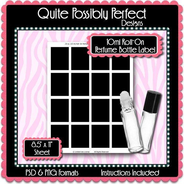Ml RollOn Perfume Bottle Label Template Instant Download Psd