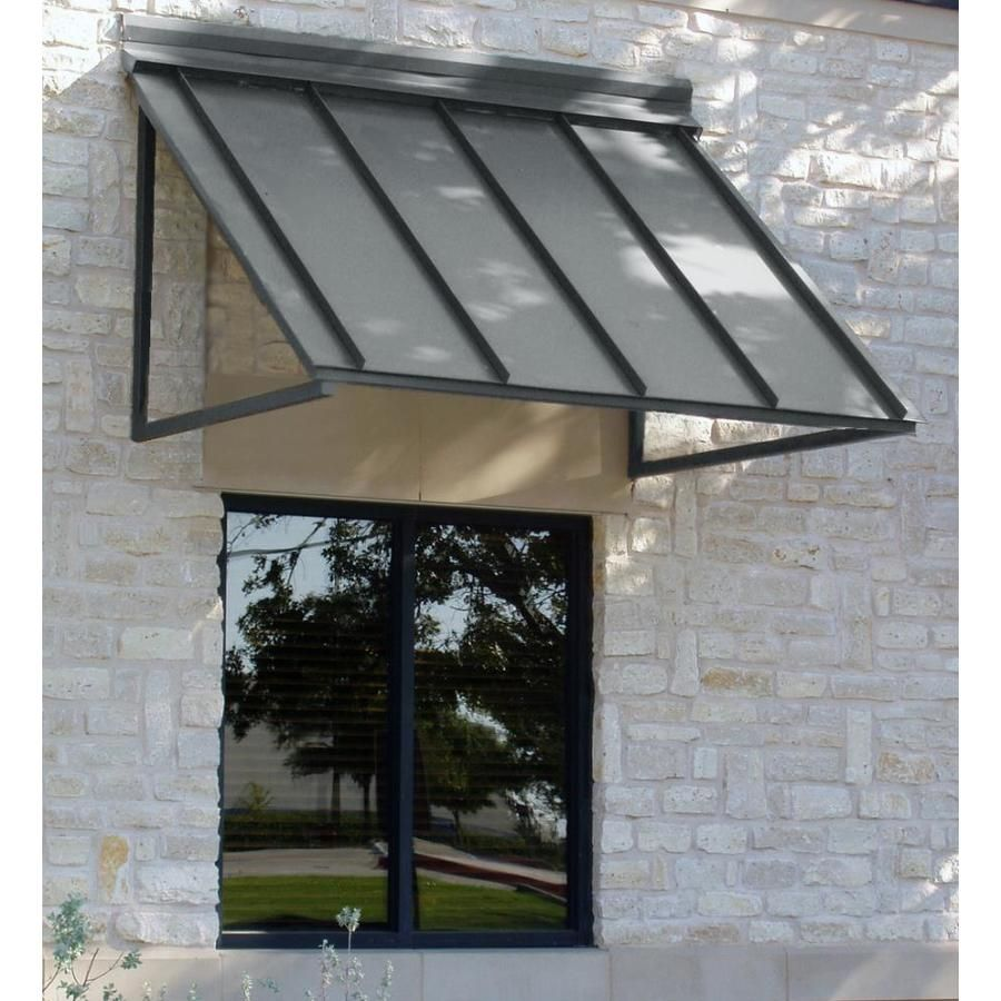 Awntech Houstonian 56 In Wide X 24 In Projection Solid Vertical Patio Fixed Awning At Lowes Com Door Awnings Metal Awning Window Awnings