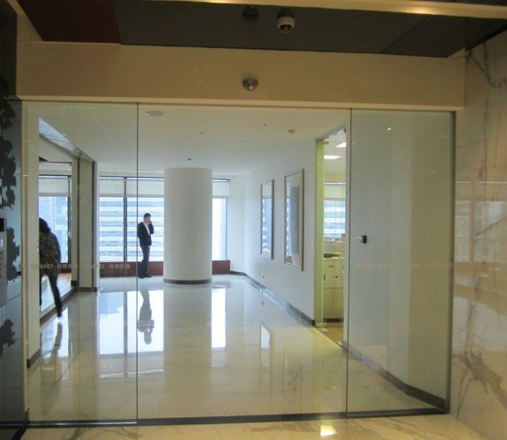 Es200g automatic tempered glass office sliding door buy for Commercial interior sliding glass doors