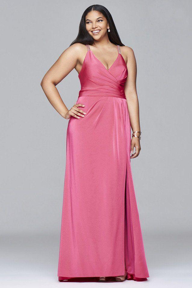 Vestido largo de color coral modelo 9414 de la firma Faviana ...