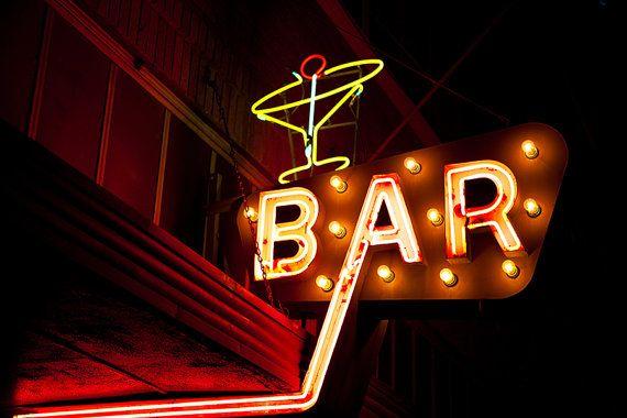 Bar Sign Print, Neon Sign Photography, Bar Cart Art