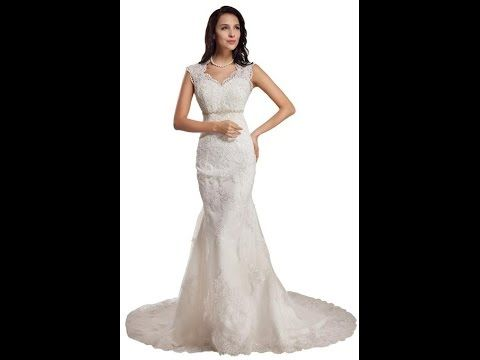 Go to http://amzn.to/1IuIp8y GEORGE BRIDE Sleeveless Lace Over Satin Chapel Train Wedding Dress With Sexy Back The GEORGE BRIDE Sleeveless Lace Over Satin Ch...