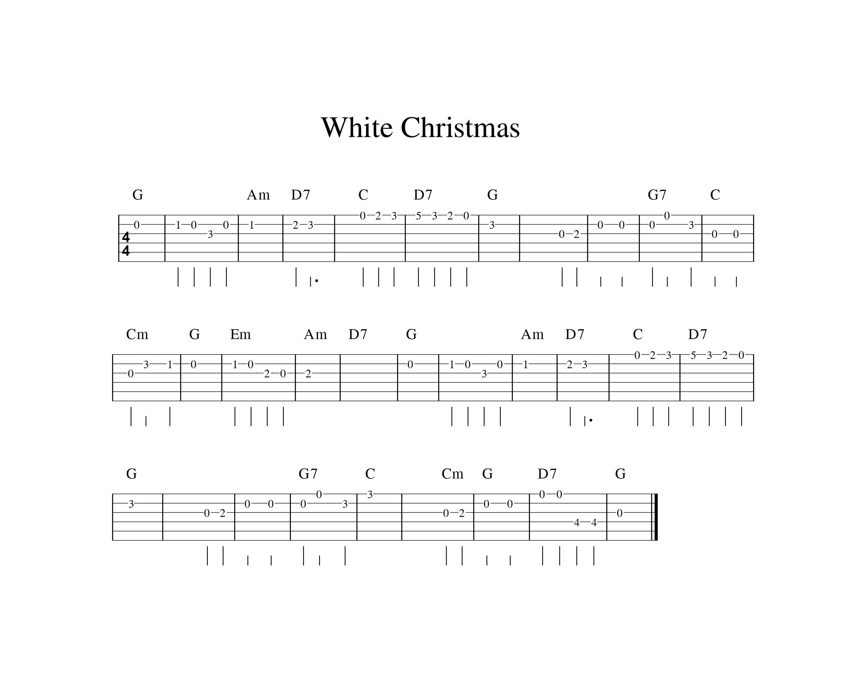 white Christmas easy guitar tab Guitar tabs, Guitar