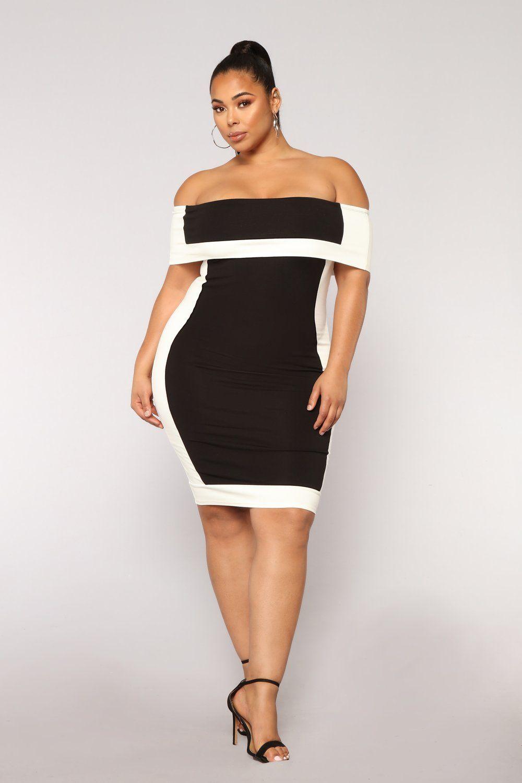 Olivia Off Shoulder Dress Black/White Fashion nova