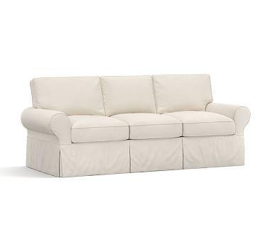 Superior PB Basic Slipcovered Sofa 82.5u0026quot;, Polyester Wrapped Cushions, Twill  Cream   Furniture Slipcovers, Sleeper Sofas And Sofa Slipcovers