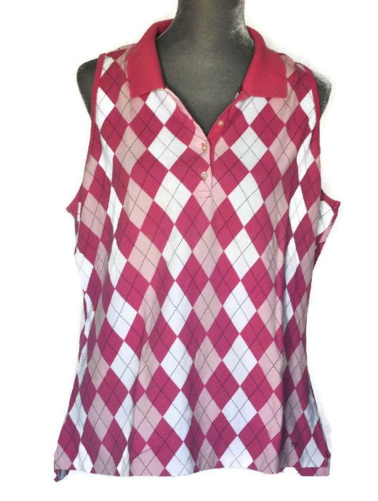 7cd74106 TOMMY HILFIGER Sleeveless Argyle Golf Shirt Pink Knit Polo Top # TommyHilfiger #PoloShirt #Casual