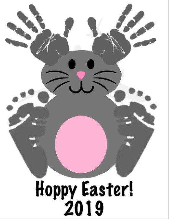 Digital Download Easter Bunny Handprint & Footprint Art, Toddler Handprint Art, Handprint Craft, Mama Don't Blink