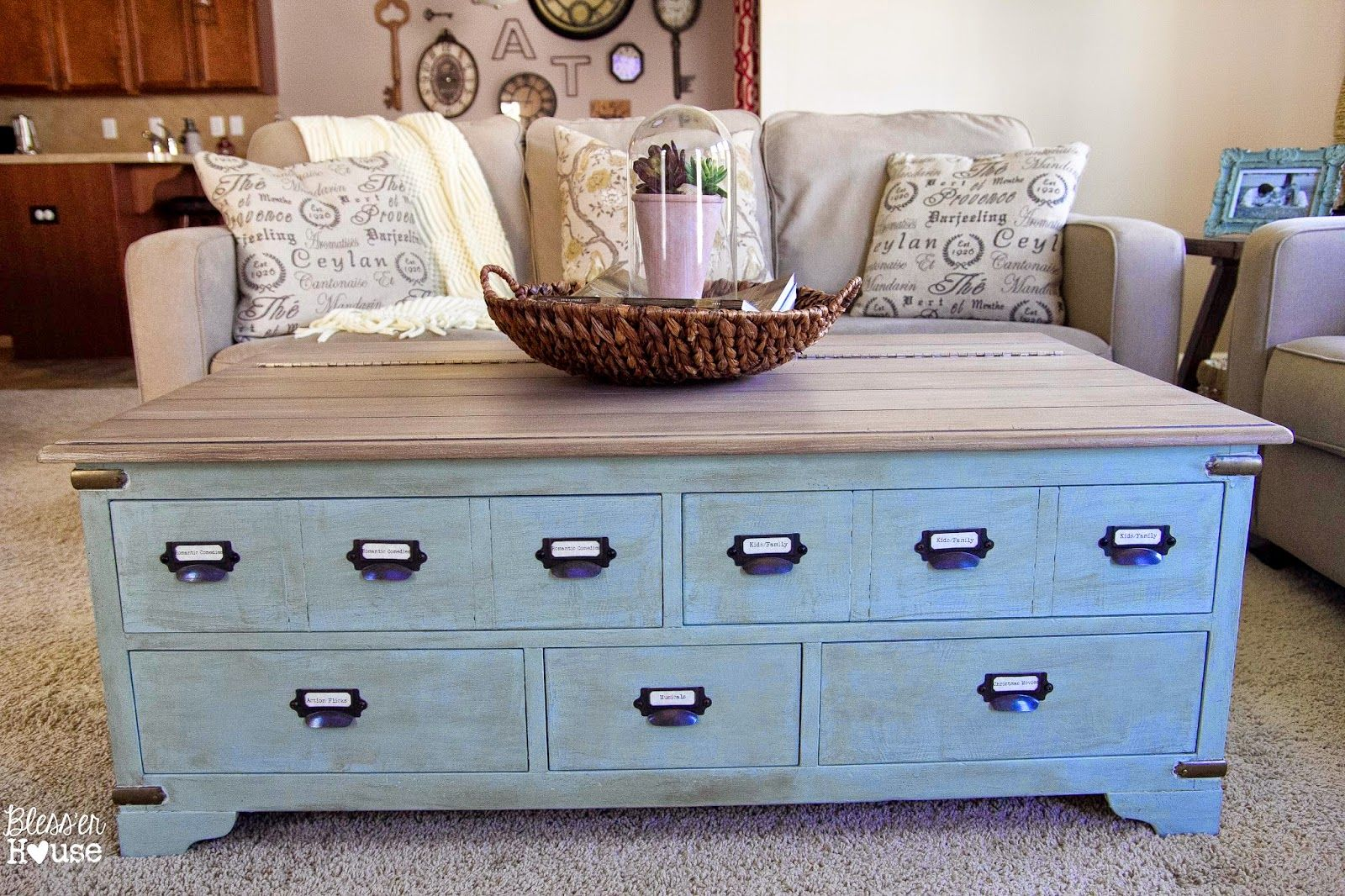 Faux Planked Coffee Table Makeover Card Catalog Style Table