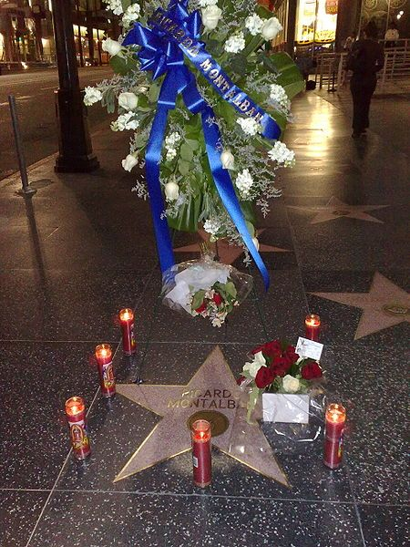 Tributes on Ricardo Montalbán's star on the Hollywood Walk of Fame, to mark his passing in 2009